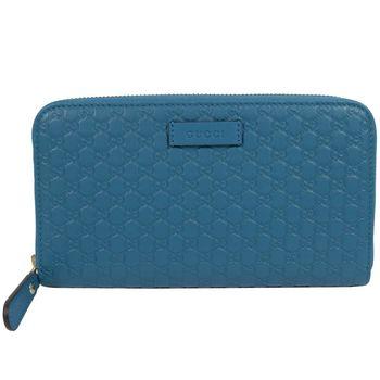 GUCCI 449391 經典雙G緹花全皮革壓紋拉鍊長夾.藍