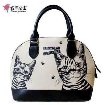 花間公主 2016貓咪可愛貝殼包原創時尚潮流斜側手提包