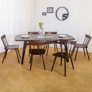 Bernice-萊森工業風實木餐桌椅組(一桌六椅)