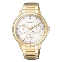 CITIZEN 星辰 奢華三眼時尚光動能女錶腕錶/金色/38mm/FD2032-55A