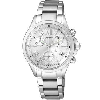 CITIZEN 星辰 xC 系列 Eco-Drive 光動能 浪漫春意 三眼計時腕錶-銀 /32mm/FB1400-60A