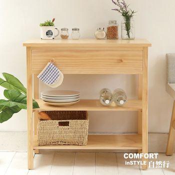 CiS自然行實木家具 電器櫃-碗盤櫃-雜貨櫃-置物櫃W90cm (水洗白色)