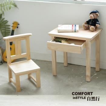 CiS自然行兒童家具 兒童桌椅-無甲醛-原木卡榫-學習桌+Sunny Chair(水洗白色)