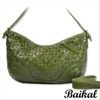 【BAIKAL】時尚流線編織油蠟牛皮包(大)(共2色)