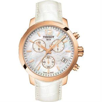 TISSOT 天梭 QUICKSTER CLASSIC 計時腕錶-珍珠貝x白/42mm T0954173611700