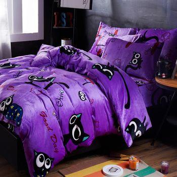 生活提案-法蘭絨 雙人四件式 兩用毯被套舖棉床罩組-貓的報恩