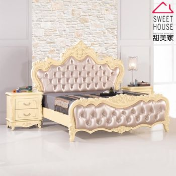 【甜美家】歐式公主雙人加大6尺床架+床頭櫃(歐式經典設計)