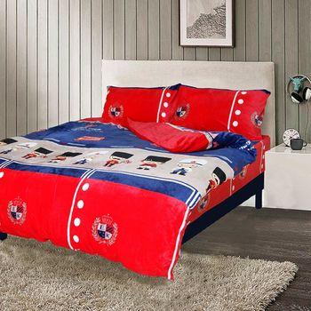 【Victoria】法蘭絨雙人四件式鋪棉床包被單組-童話