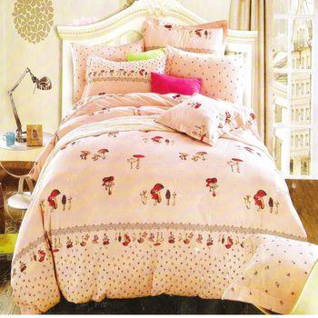 『Luo mandi 羅曼蒂』100% 棉雙人四件式被套床包組 (蘑菇的愛)
