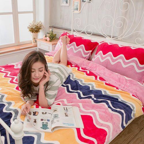 【Lapin】彩色波紋 法蘭絨雙人舖棉兩用被冬包四件組