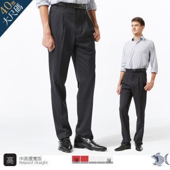 【NST Jeans】特務黑 混紡羊毛打摺西裝褲(中高腰寬版) 001(7250)
