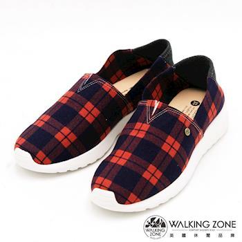 WALKING ZONE 經典百搭蘇格蘭格紋懶人鞋 女鞋-紅(另有藍)