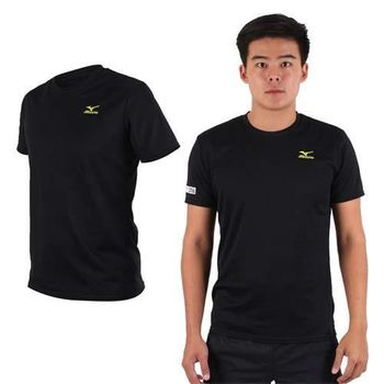 【MIZUNO】限量2016大阪馬拉松男路跑短袖T恤-慢跑 美津濃 黑芥末綠  吸濕排汗