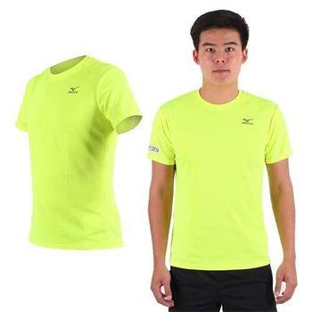 【MIZUNO】限量2016大阪馬拉松男路跑短袖T恤-慢跑 美津濃 螢光黃黑  吸濕排汗