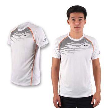【MIZUNO】限量2016大阪馬拉松男路跑短袖T恤 - 美津濃 白黑橘
