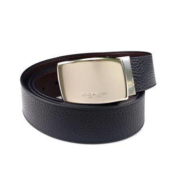 COACH 荔枝紋全皮革方形扣頭雙面用皮帶-黑/咖啡色