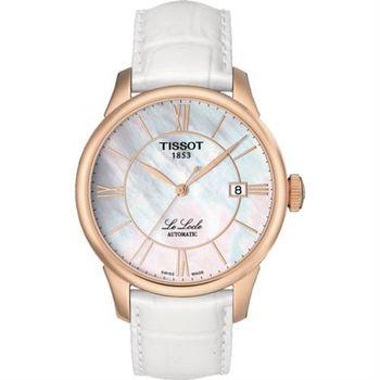 TISSOT Le Locle 力洛克羅馬機械腕錶-珍珠貝x玫瑰金框/39mm T41645383
