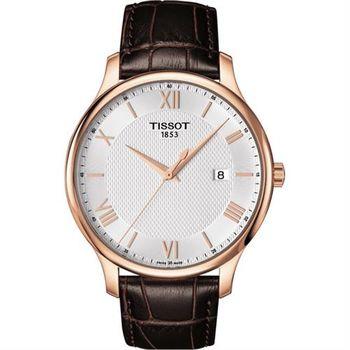 TISSOT Tradition 羅馬經典大三針石英腕錶-玫瑰金框x咖啡/42mm T0636103603800