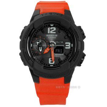 Baby-G CASIO / BGA-230-4B / 卡西歐簡約帥氣世界時間雙顯橡膠手錶 黑x亮橘 41mm