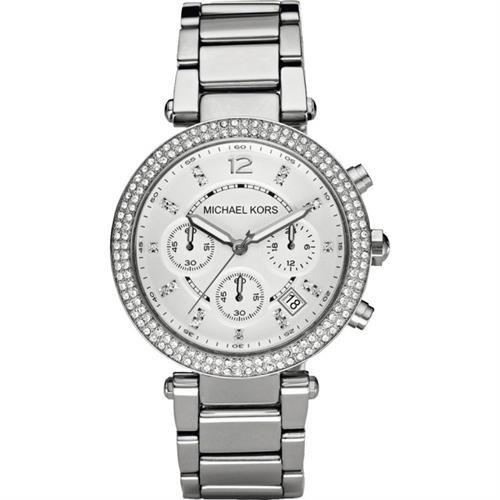 Michael Kors 美式奢華晶鑽三眼計時腕錶-銀 MK5353