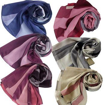 BURBERRY格紋絲綢緞面圍巾(紅色)-6色