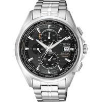 CITIZEN 星辰 Eco-Drive 鈦金屬光動能電波腕錶-黑x銀/ 43mm AT8130-56E