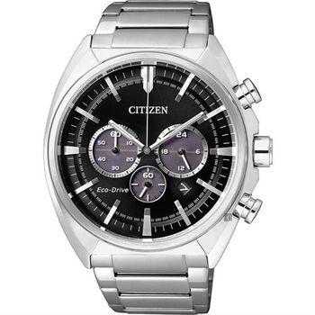 CITIZEN 星辰 Eco-Drive 光動能跨時代計時腕錶-黑x銀/43mm CA4280-53E