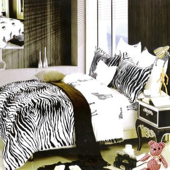 『Luo mandi 羅曼蒂』100% 棉雙人四件式被套床包組 (愛尚斑馬 5*6.2)