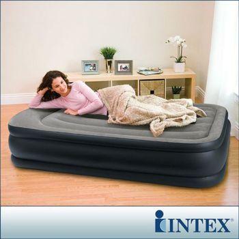 【INTEX】《豪華三層圍邊》單人加大充氣床-寬99cm(內建電動幫浦)-灰色 (64131)