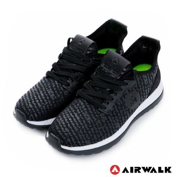 【美國 AIRWALK】破冰 網眼透氣雙層大底輕量運動鞋-女-閃黑