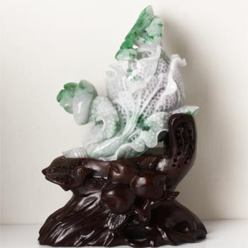 【限量極品】臨水登山天然翡翠玉擺件-金元寶白菜如意