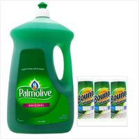 【美國 Palmolive】棕欖濃縮洗碗精(90oz/2660ml)*2+【美國 Bounty】萬用廚房紙巾(117張*3)