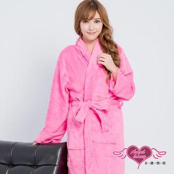 天使霓裳 保暖睡袍 亮麗綺想 柔軟珊瑚絨一件式綁帶連身睡衣(深粉F) AQ60923