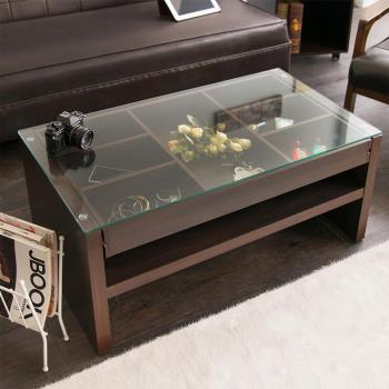 【澄境】強化玻璃滑軌抽屜茶几桌 -二色可選
