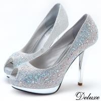 【Deluxe】全真皮亮麗水鑽魚口防水台高跟鞋(銀)-939-18