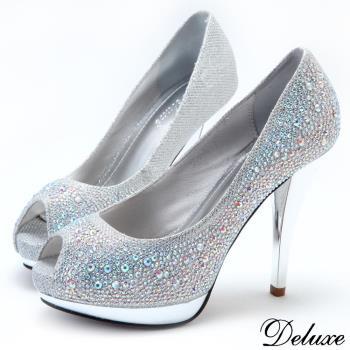 【Deluxe】全真皮亮麗水鑽魚口防水台高跟鞋(銀)
