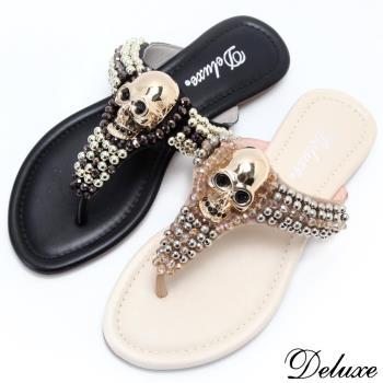 【Deluxe】時尚潮流亮金骷髏串閃耀珠珠夾腳拖鞋(黑-米)-9011-5