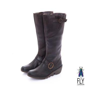 Fly London(女) 棉花糖 超軟牛皮楔型坡跟長筒靴- 衷愛咖