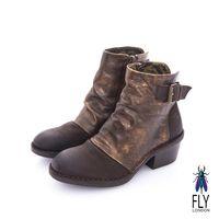 Fly London(女) 搖滾年代 仿舊刷皮側扣牛皮短靴-  咖啡