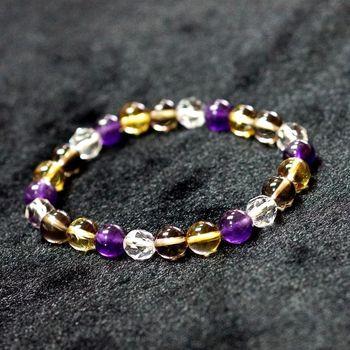 【喨喨飾品】黃水晶/茶水晶/紫水晶/白水晶能量手鍊 (N274)