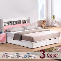 【時尚屋】[G17]童話5尺床箱型雙人床G17-A029-1+A029-2三色可選/不含床頭櫃-床墊