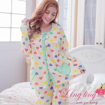 【lingling日系】全尺碼-彩色愛心哺乳孕婦裝居家長袖二件式睡衣組(氣質藍綠)A2926