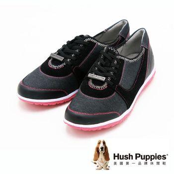Hush Puppies 潮流休閒平底帆布鞋 女鞋-黑