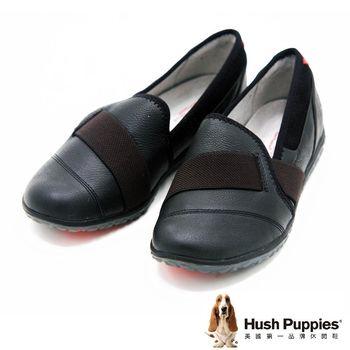 Hush Puppies 鬆緊帶素面平底 女鞋-黑