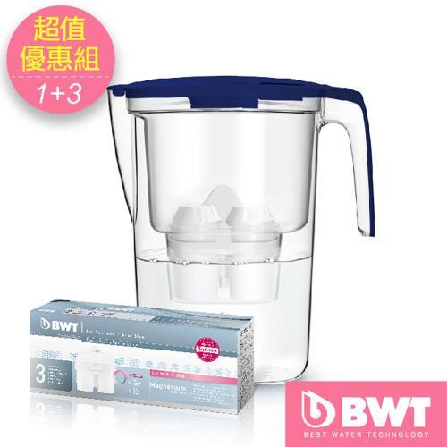 【BWT德國倍世】Mg2+鎂離子健康濾水壺3.6L(藍) + 8周長效濾芯-三入組