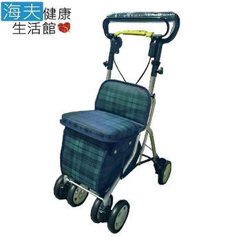 【海夫健康生活館】輕巧購物助行車 (綠格紋)