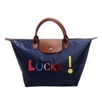 LONGCHAMP LE PLIAGE Lucky刺繡圖樣短把尼龍水餃包(中-海軍藍)