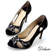 【Deluxe】全真皮華麗星空水鑽網紗魚口高跟鞋(黑)-383-1