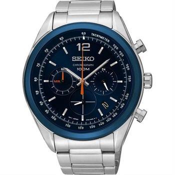 SEIKO 逆轉世界三眼計時腕錶-藍/45mm 6T63-00J0B(SSB091P1)