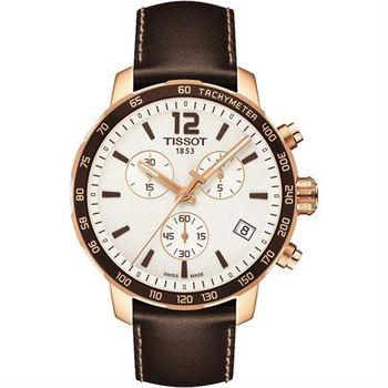 TISSOT QUICKSTER CLASSIC 計時運動腕錶-白x玫瑰金框/42mm T0954173603702